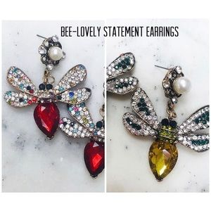 BEE-Lovely Statement Earrings-Red or Topaz, NWT